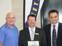Rob, Minister Bourke and Phil Gray, Weetangera Principal